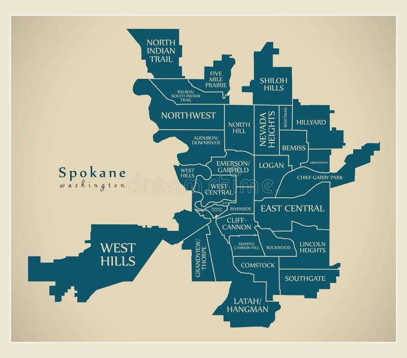 Mapa moderno de la ciudad - ciudad de Spokane Washington de los E.E.U.U. con las vecindades y los títulos ilustración del vector