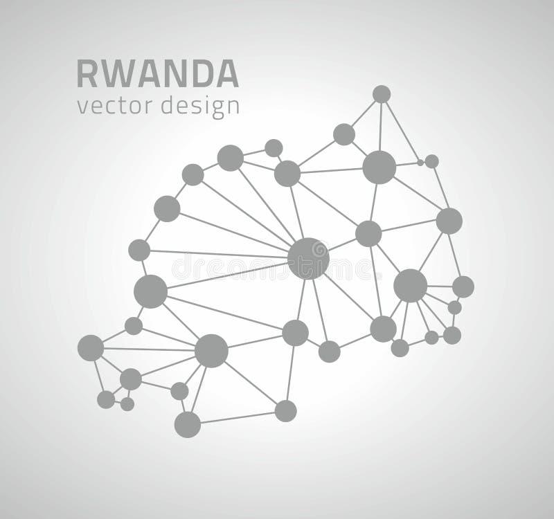 Mapa moderno del esquema del punto del vector de Rwanda de la perspectiva gris del triángulo ilustración del vector