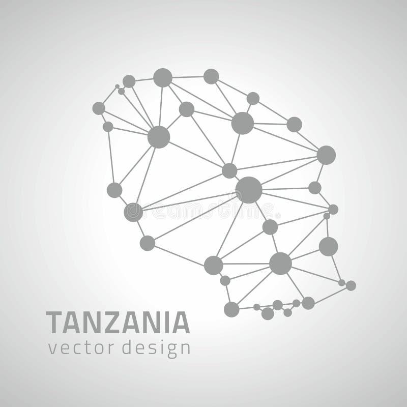 Mapa moderno del esquema del punto del vector de Tanzania de la perspectiva gris del triángulo ilustración del vector