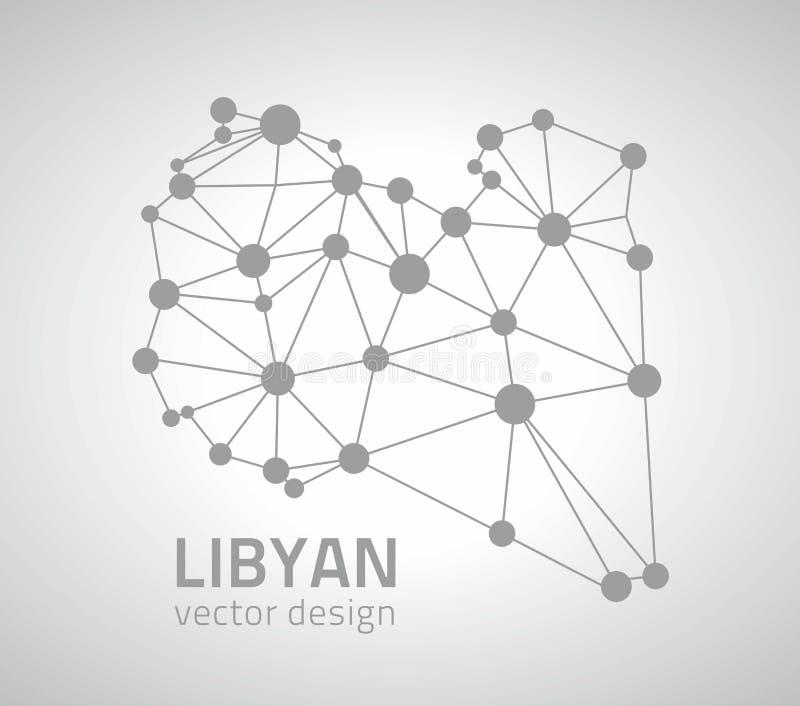Mapa moderno del vector del punto del esquema de la perspectiva gris libia del triángulo