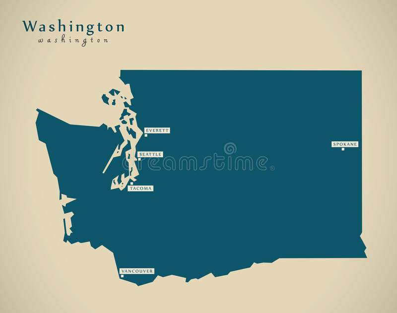 Mapa moderno - ejemplo de Washington los E.E.U.U. libre illustration