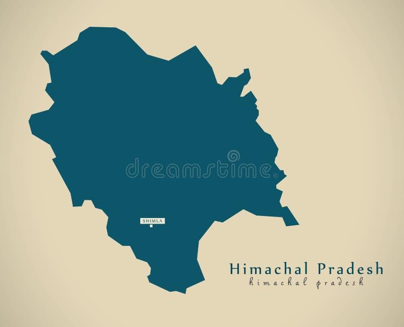 Mapa moderno - Himachal Pradesh no illustratio do estado federal da Índia ilustração royalty free