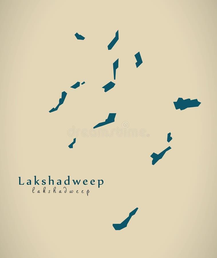 Mapa moderno - Lakshadweep na ilustração do estado federal da Índia ilustração do vetor