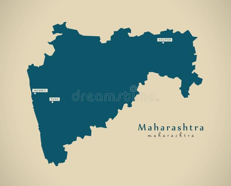 Mapa moderno - Maharashtra na ilustração do estado federal da Índia ilustração do vetor
