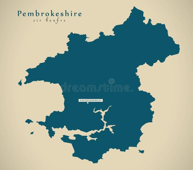 Mapa moderno - Pembrokeshire País de Gales Reino Unido stock de ilustración