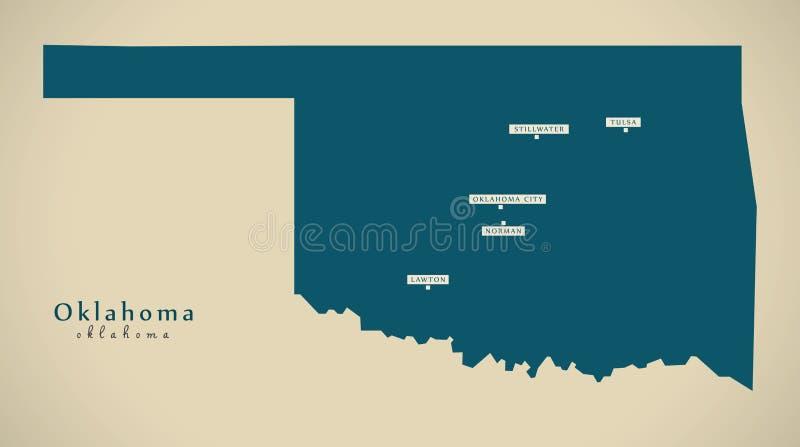 Mapa moderno - silhueta da ilustração de Oklahoma EUA ilustração stock