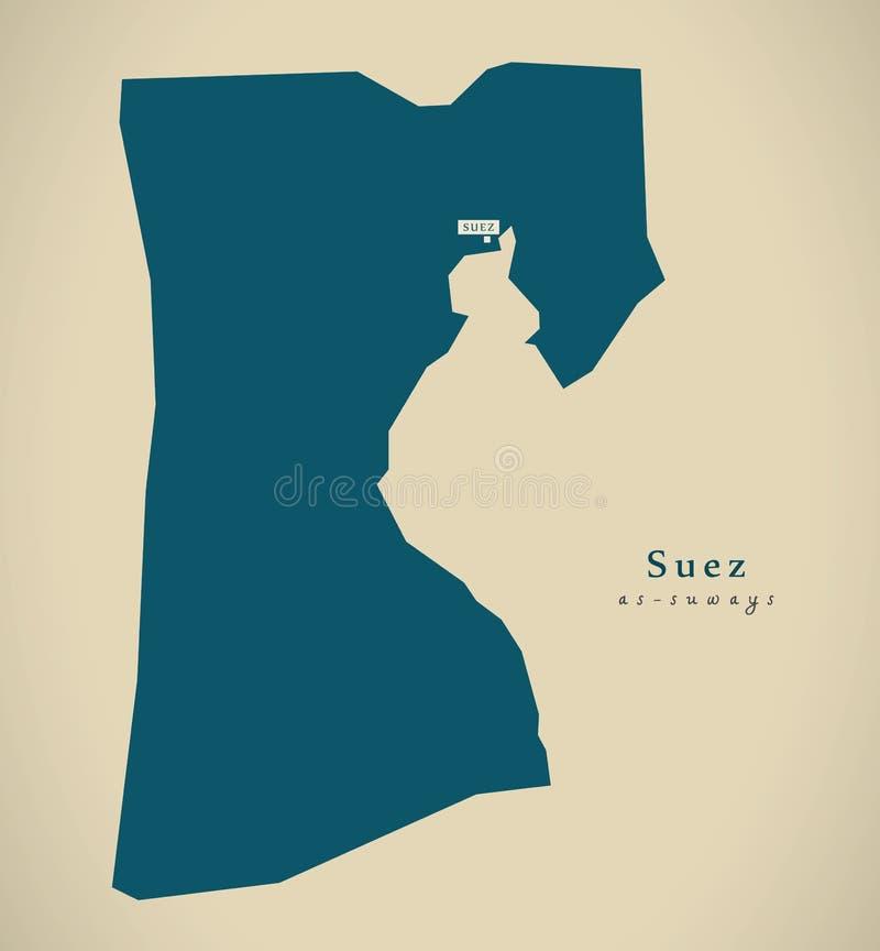Mapa moderno - Suez EG. libre illustration