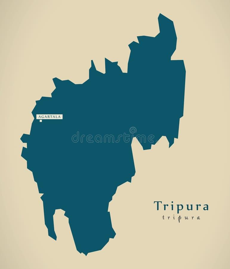 Mapa moderno - Tripura na ilustração do estado federal da Índia ilustração do vetor