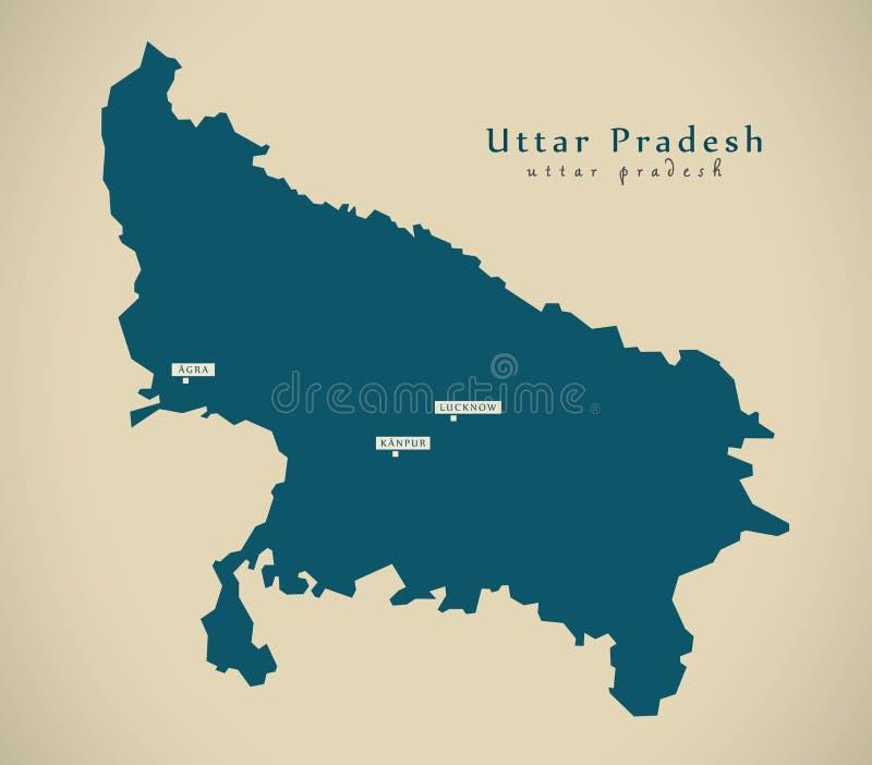 Mapa moderno - Uttar Pradesh na ilustração do estado federal da Índia ilustração stock