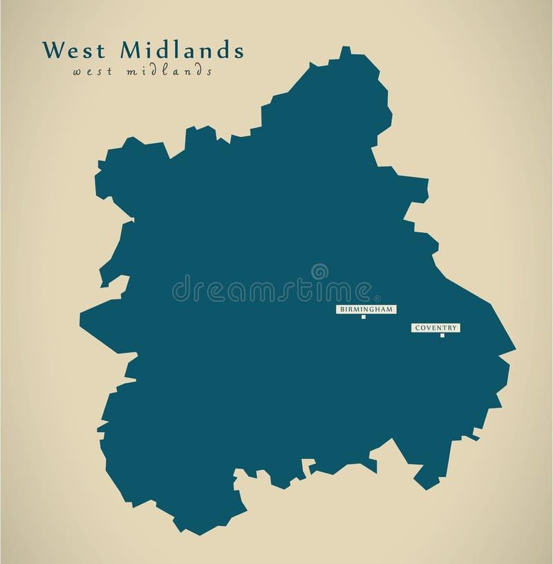 Mapa moderno - West Midlands Reino Unido Inglaterra stock de ilustración