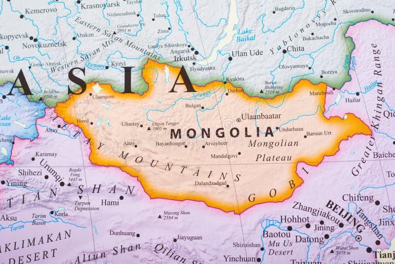 mapa Mongolia zdjęcie stock