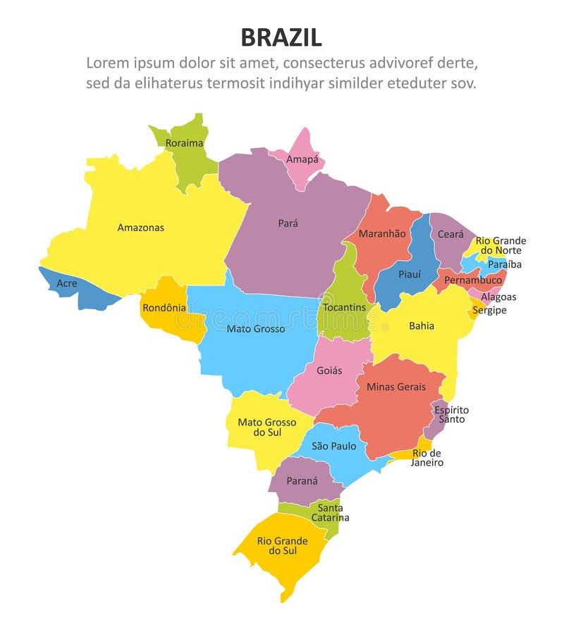 Mapa multicolor del Brasil con regiones Ilustraci?n del vector libre illustration