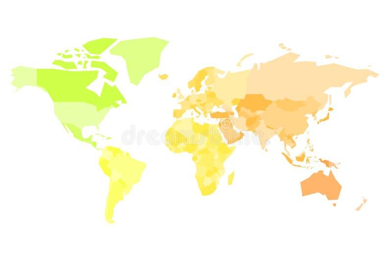 Mapa multicolor del mundo Mapa político simplificado con las fronteras nacionales de countires Ejemplo colorido del vector adentr stock de ilustración