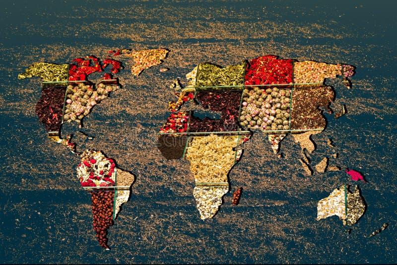 Mapa mundial con veracidad de relleno de especias foto de archivo libre de regalías