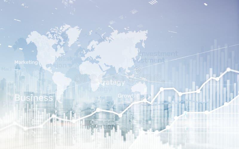Mapa mundial no fundodo negócio, moedas e gráfico da exposição dobro da calculadora, carta e diagrama abstratos imagens de stock