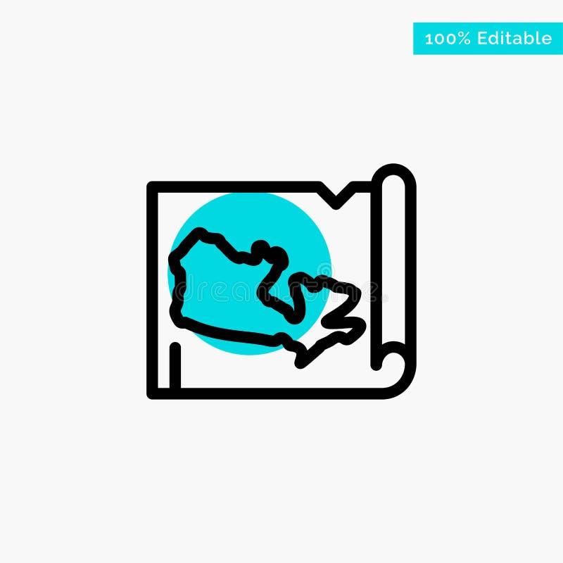 Mapa, mundo, ícone do vetor do ponto do círculo do destaque de turquesa de Canadá ilustração do vetor