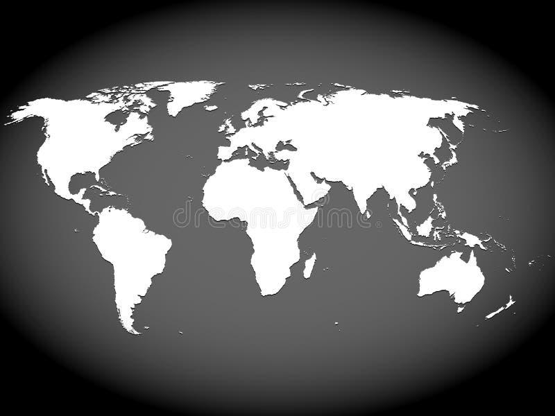 Mapa muy arriba detallado del mundo stock de ilustración