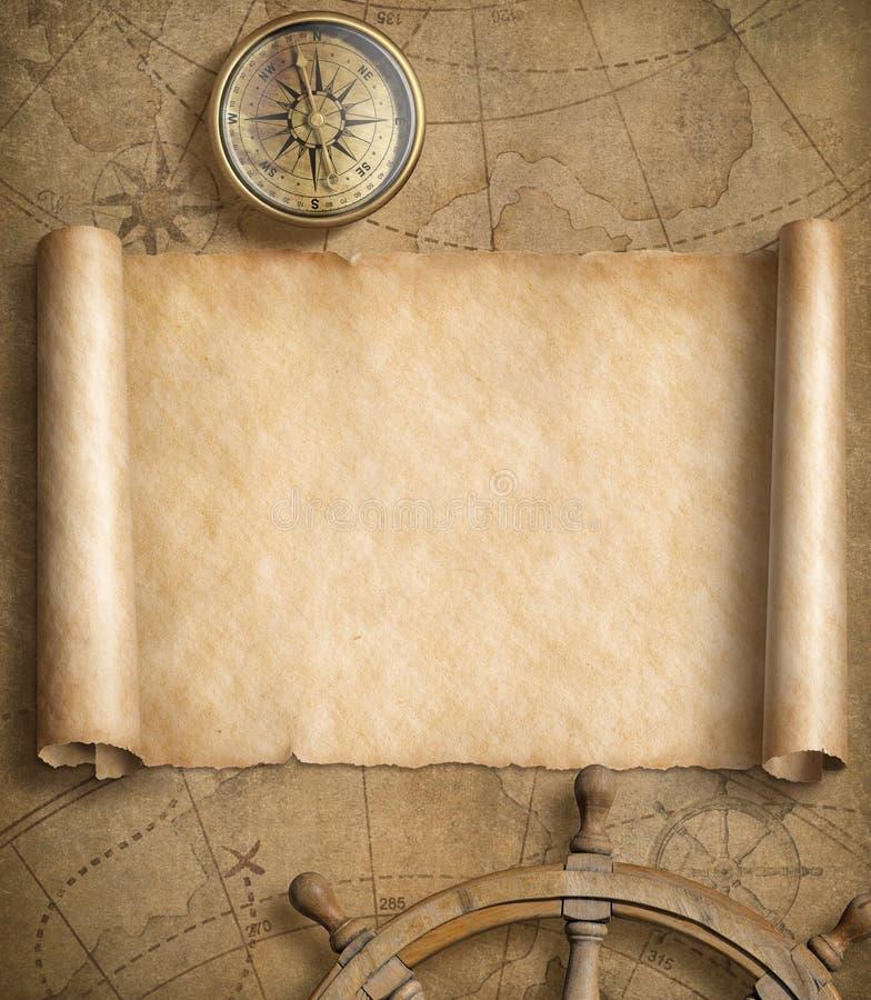 Mapa náutico en blanco viejo con los volantes libre illustration