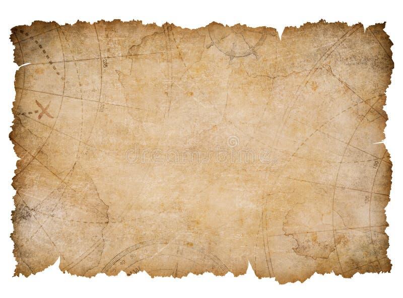 Mapa náutico velho do tesouro com as bordas rasgadas isoladas