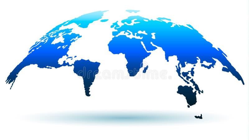 Mapa na moda do globo na cor azul brilhante com sombra Ilustração do vetor ilustração do vetor