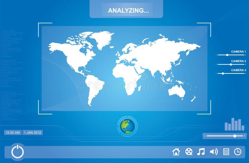 Mapa na tela de toque ilustração royalty free