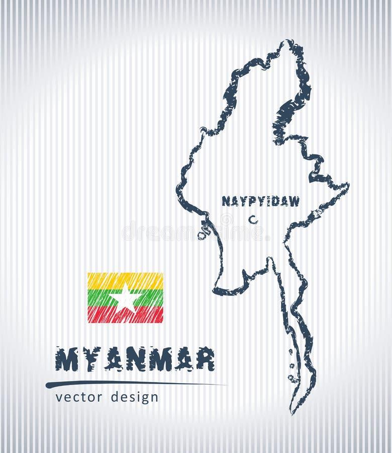Mapa nacional del dibujo del vector de Birmania en el fondo blanco stock de ilustración