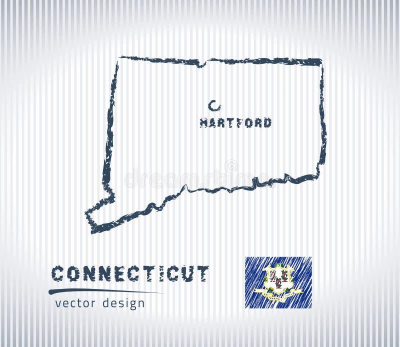 Mapa nacional del dibujo del vector de Connecticut en el fondo blanco ilustración del vector