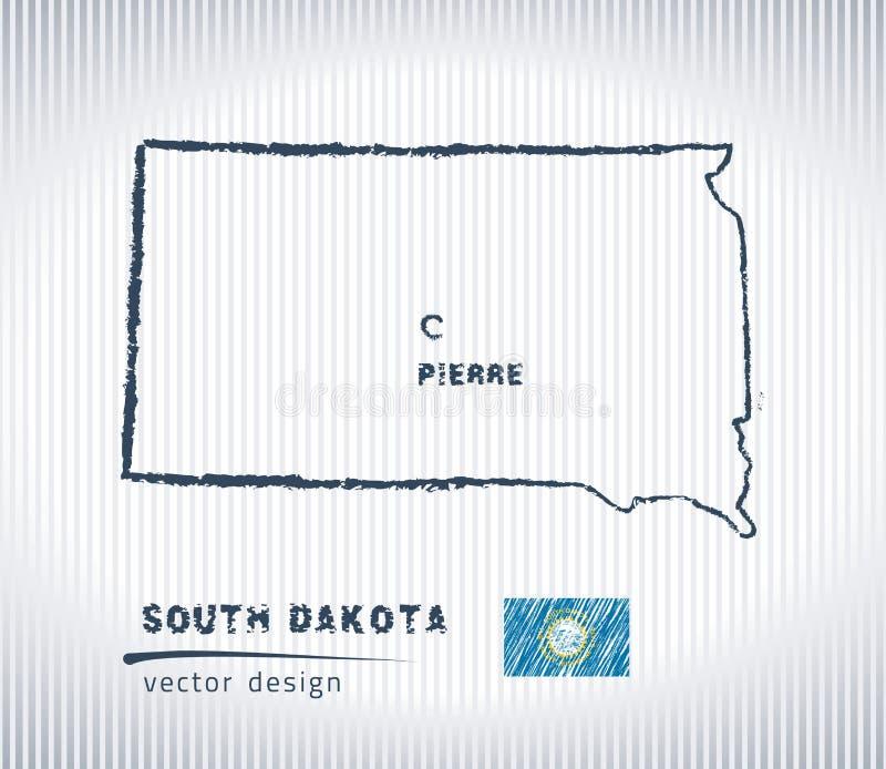 Mapa nacional del dibujo del vector de Dakota del Sur en el fondo blanco ilustración del vector
