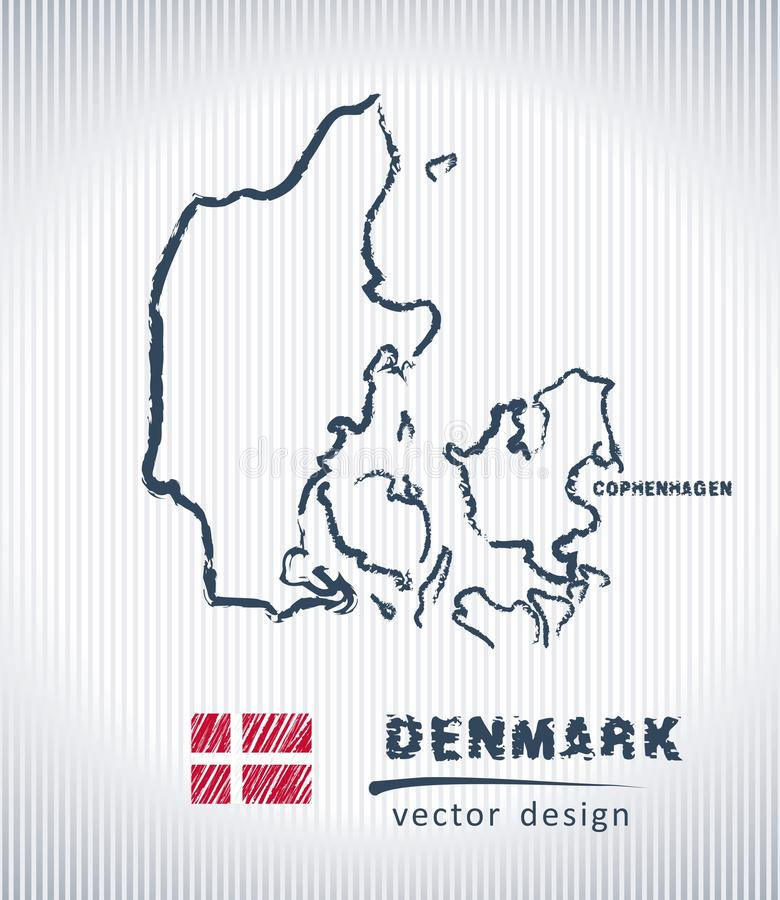 Mapa nacional del dibujo del vector de Dinamarca en el fondo blanco libre illustration