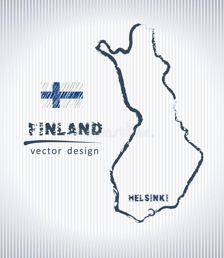 Mapa nacional del dibujo del vector de Finlandia en el fondo blanco libre illustration