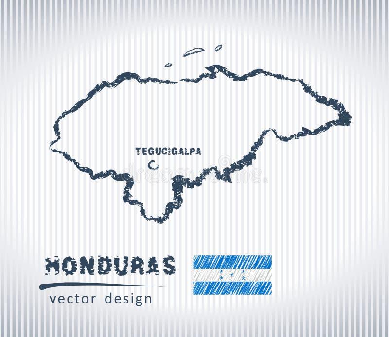 Mapa nacional del dibujo del vector de Honduras en el fondo blanco libre illustration