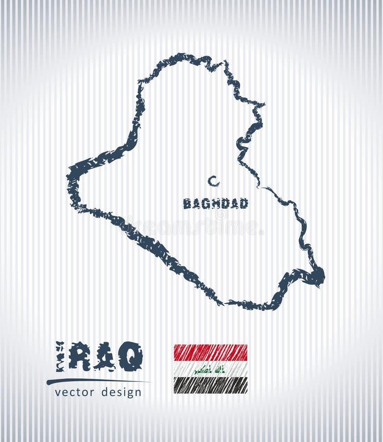 Mapa nacional del dibujo del vector de Iraq en el fondo blanco libre illustration