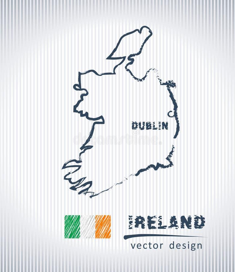 Mapa nacional del dibujo del vector de Irlanda en el fondo blanco stock de ilustración