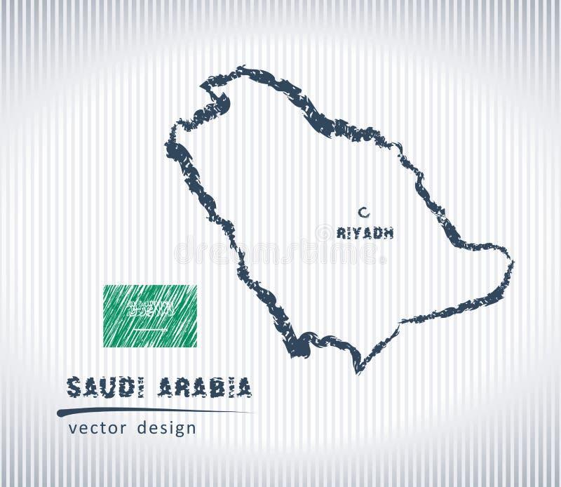 Mapa nacional del dibujo del vector de la Arabia Saudita en el fondo blanco stock de ilustración