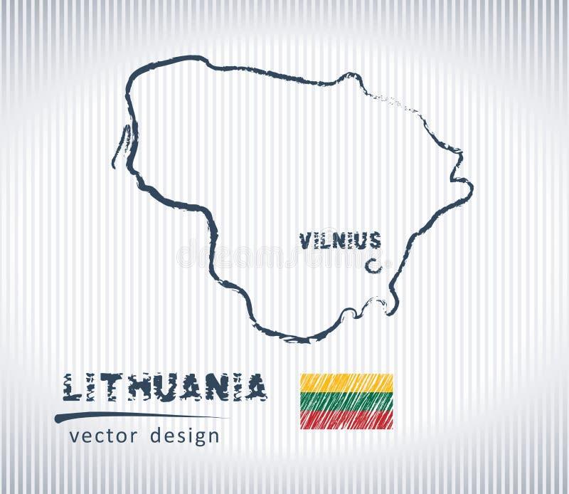 Mapa nacional del dibujo del vector de Lituania en el fondo blanco stock de ilustración