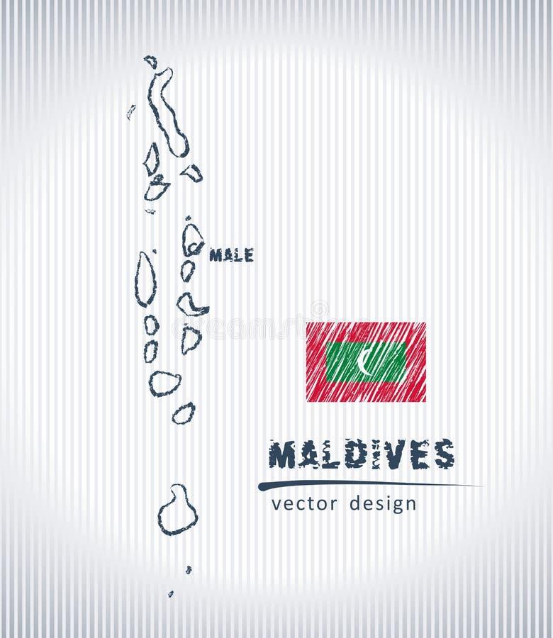 Mapa nacional del dibujo del vector de Maldivas en el fondo blanco ilustración del vector