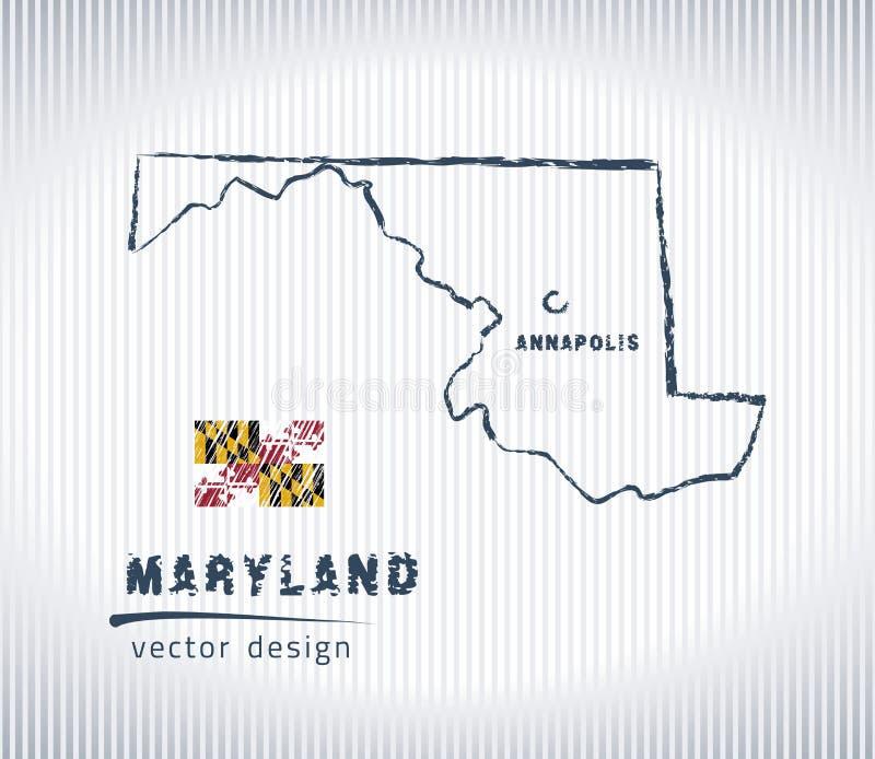 Mapa nacional del dibujo del vector de Maryland en el fondo blanco ilustración del vector