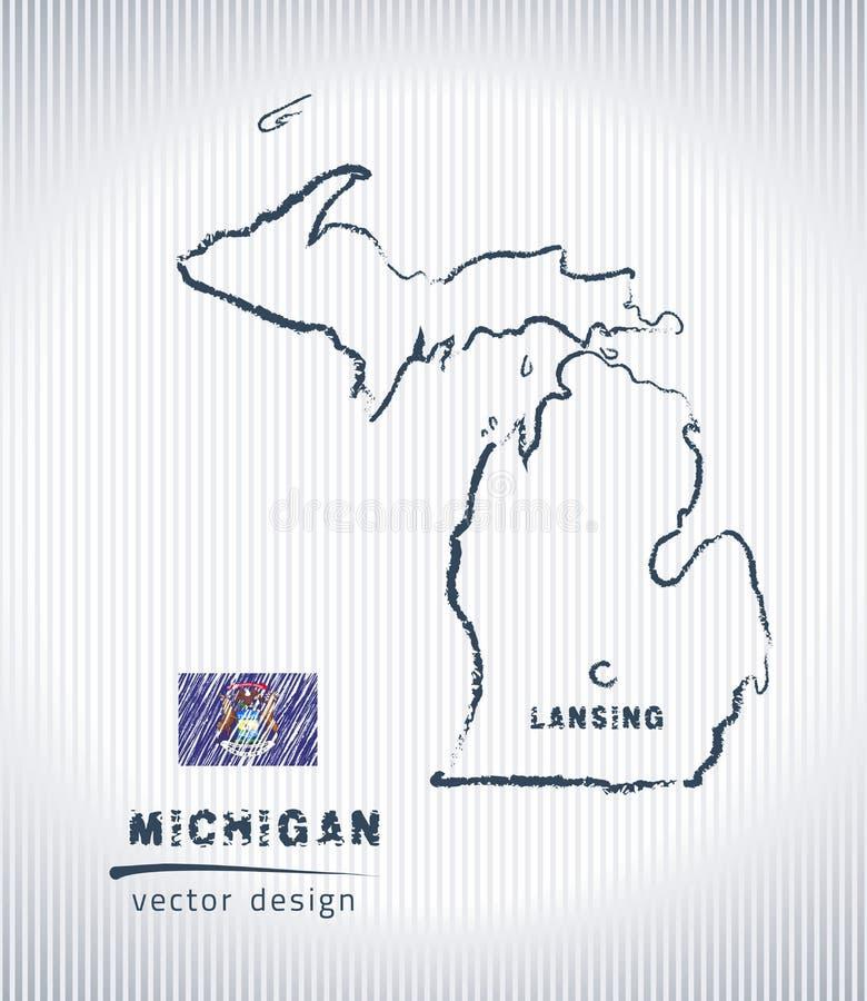 Mapa nacional del dibujo del vector de Michigan en el fondo blanco ilustración del vector