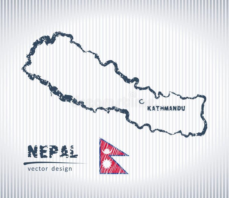 Mapa nacional del dibujo del vector de Nepal en el fondo blanco ilustración del vector