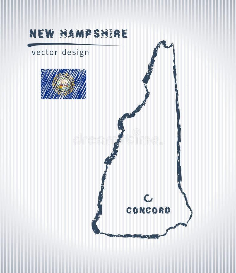 Mapa nacional del dibujo del vector de New Hampshire en el fondo blanco stock de ilustración