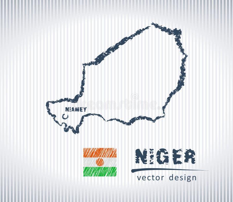 Mapa nacional del dibujo del vector de Niger en el fondo blanco libre illustration