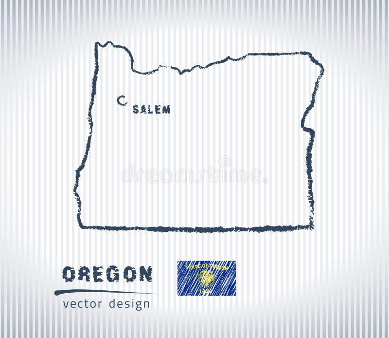 Mapa nacional del dibujo del vector de Oregon en el fondo blanco libre illustration