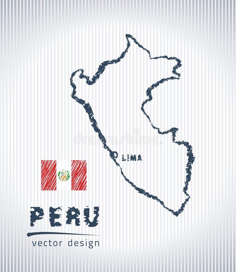 Mapa nacional del dibujo del vector de Perú en el fondo blanco libre illustration