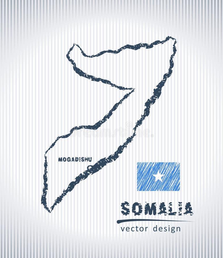Mapa nacional del dibujo del vector de Somalia en el fondo blanco ilustración del vector