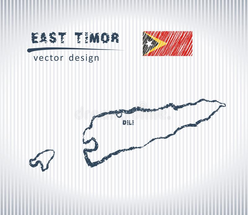 Mapa nacional del dibujo del vector de Timor Oriental en el fondo blanco ilustración del vector