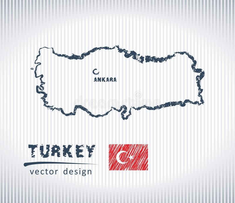 Mapa nacional del dibujo del vector de Turquía en el fondo blanco stock de ilustración