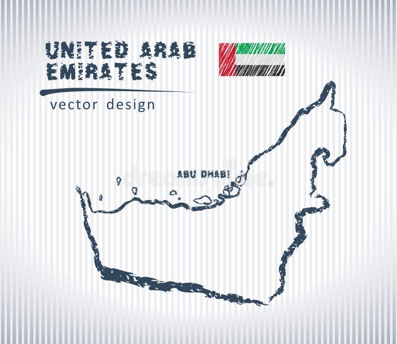 Mapa nacional del dibujo del vector de United Arab Emirates en el fondo blanco libre illustration