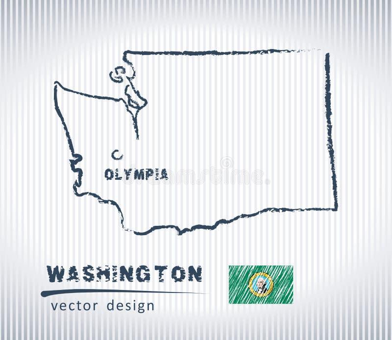 Mapa nacional del dibujo del vector de Washington en el fondo blanco stock de ilustración