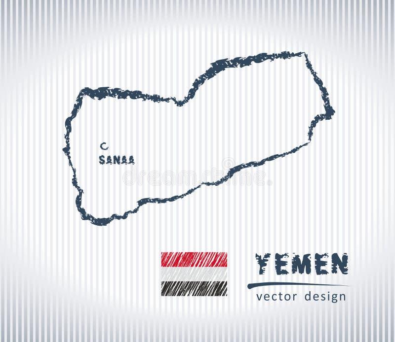 Mapa nacional del dibujo del vector de Yemen en el fondo blanco libre illustration
