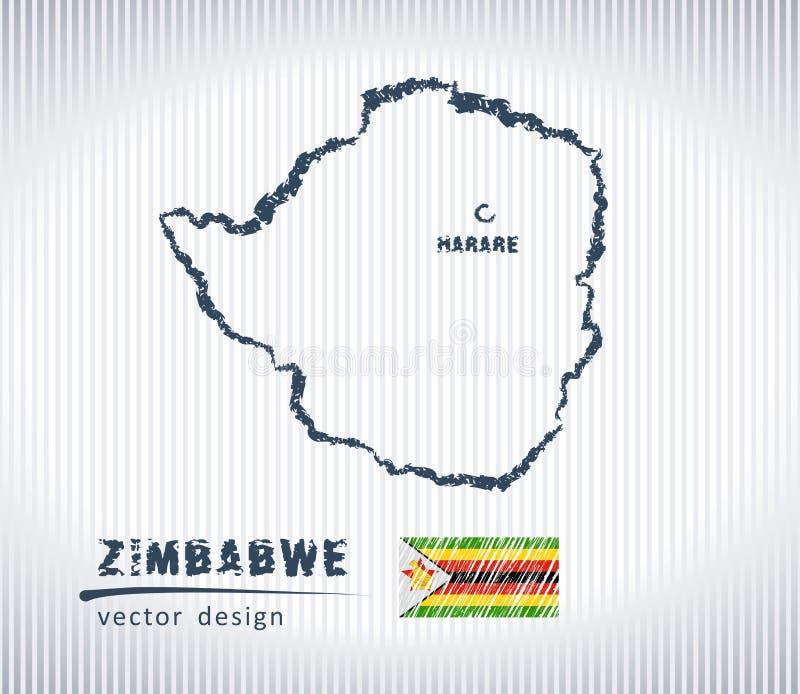 Mapa nacional del dibujo del vector de Zimbabwe en el fondo blanco ilustración del vector